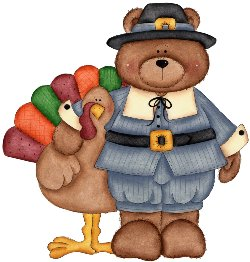 Image of turkey and pilgrim bear